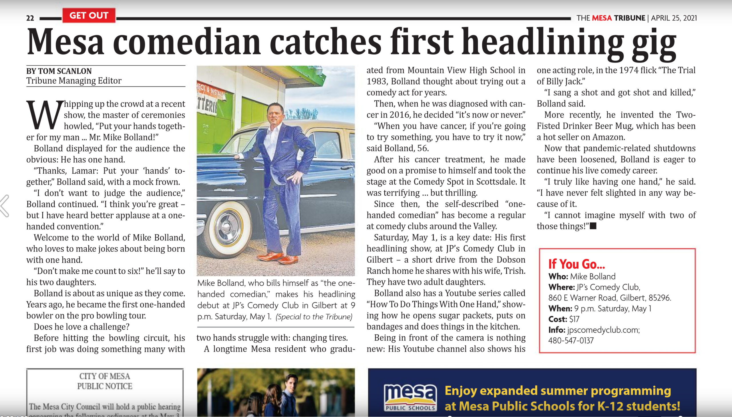 One handed comedian Mike Bolland feature in The Mesa Tribune.